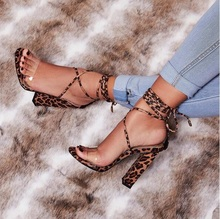 цена на Stylish Leopard Women Square Heels Sandals Peep Toe Ankle Lace-up Cross Tie-up Gladiator Sandals Women Cut-out Chunky Heel Shoes