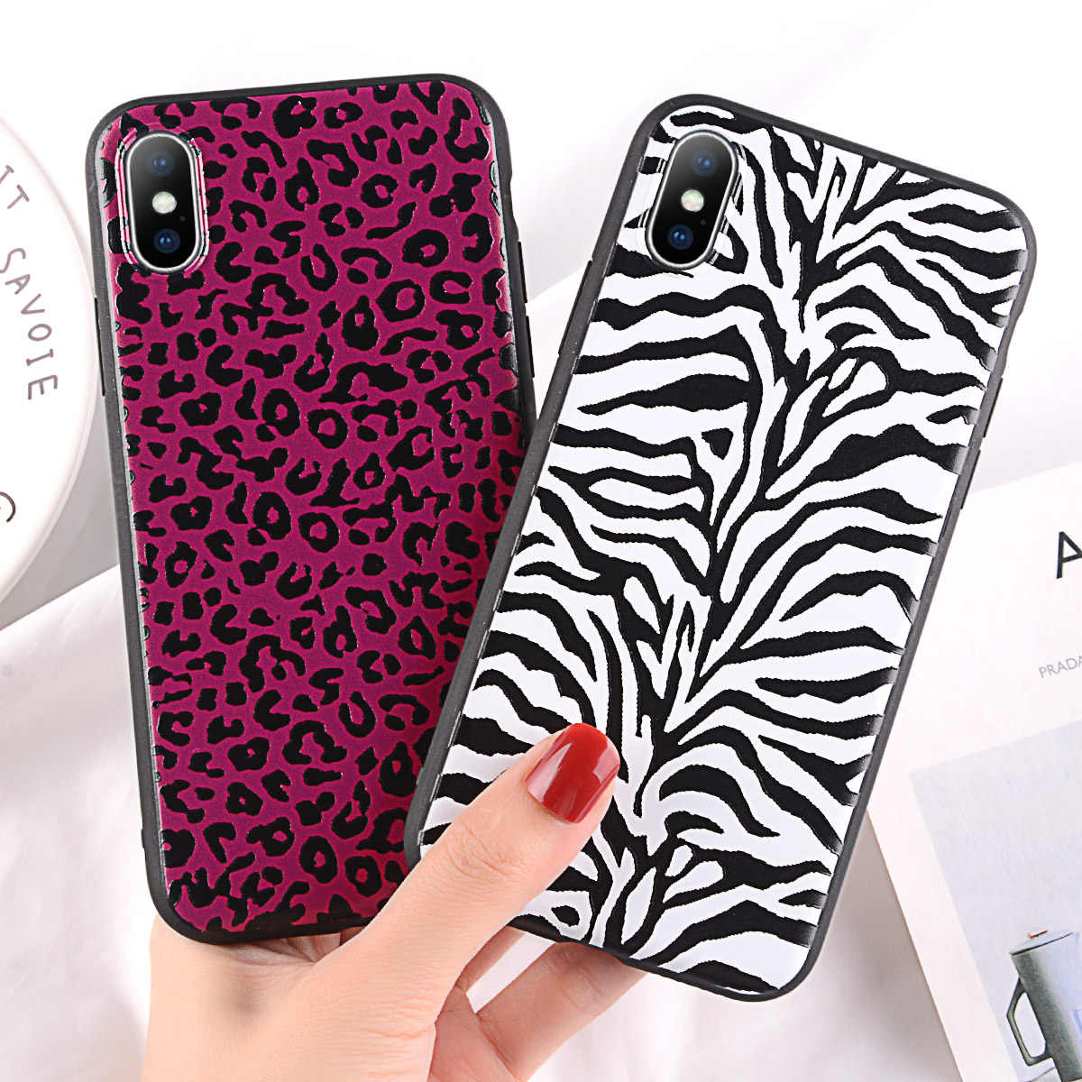 half off 30554 1c6c6 Fashion Colorful Leopard zebra Print Phone Case For iphone XS Max XR X Case  For iphone 6 6s 7 8 plus Back Cover Soft Cases Capa