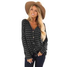 MYTL-Women V Neck Long Sleeve Striped Print Buttons Knit T Shirt Ladies Casual Loose Cardigan Outwear Tops