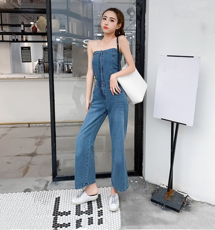Women Sexy Off Shoulder Denim   Jumpsuit   Fashion Sleeveless Long Romper Vocation Holiday Wide Leg Playsuits