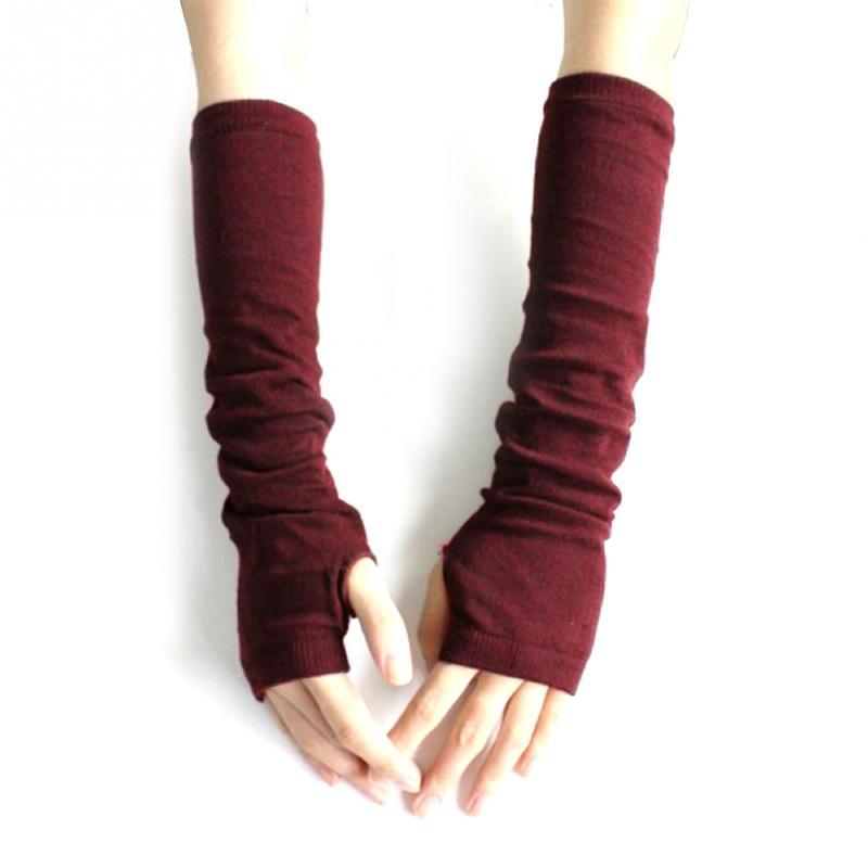 Autumn Winter Fashion Knitted Fingerless Gloves For Women Men Wrist Arm Gloves Crochet Half Finger Long Stretchy Warm Mittens~
