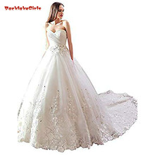 Beaded Lace Appliques Ball Gown Wedding Dress Bridal Gown