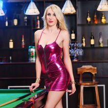 Summer Sexy Dresses HOT Women Patent Leather Zipper Up Skinny Solid Short Mini Dress Size S-4XL