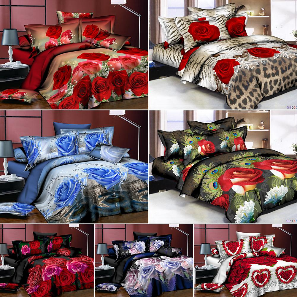 Adeeing 4Pcs/Set 3D Rose Flower Printing Pillowcase Quilt Cover Bed Sheet Bedding Set