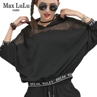 Max LuLu 2019 Spring Korean Style Ladies Mesh Crop Tops Tee Shirts Womens Hooded Lace T shirt Sexy Clothes Female Fitness Tshirt
