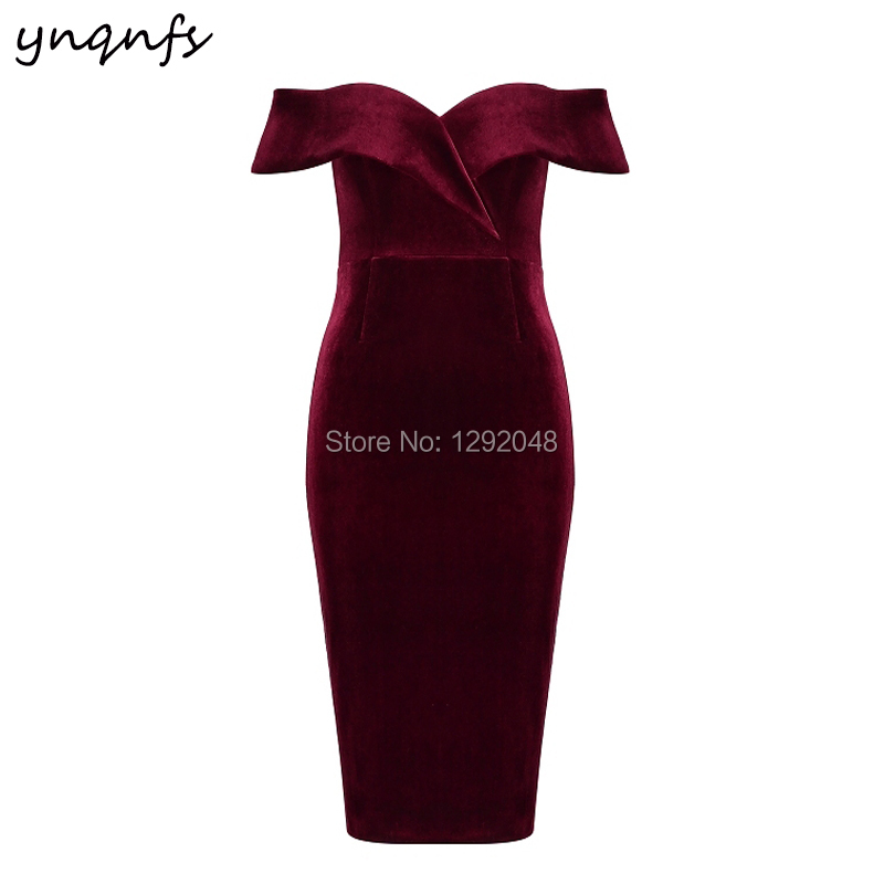 YNQNFS B35 Elegant Sheath Tea Length Off Shoulder Wedding Party   Dress   Burgundy Velvet Short   Bridesmaid     Dresses   2019