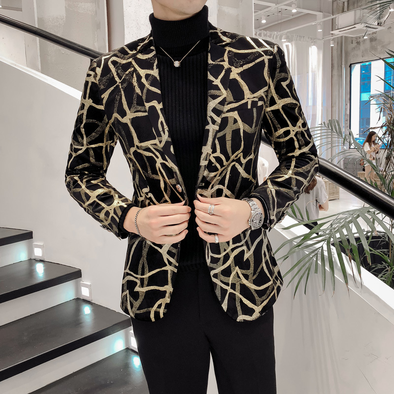 Casual Hairstylist Suit Jacket Dress Blazer Masculino 2019 New Blazer Men Korean Slim Fit Print Mens Blazer Jacket Long Sleeve