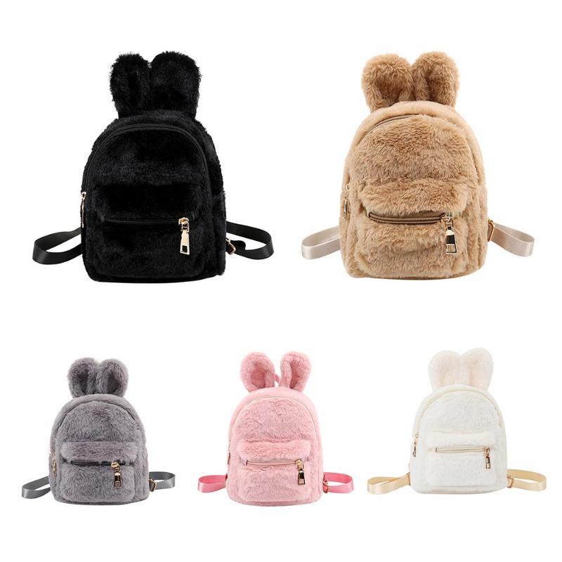2018 Cute Women s Mini Faux Fur Backpack Rabbit Ear Winter Soft Fashion  Furry Fluffy Plush Backpack cc919f020c686