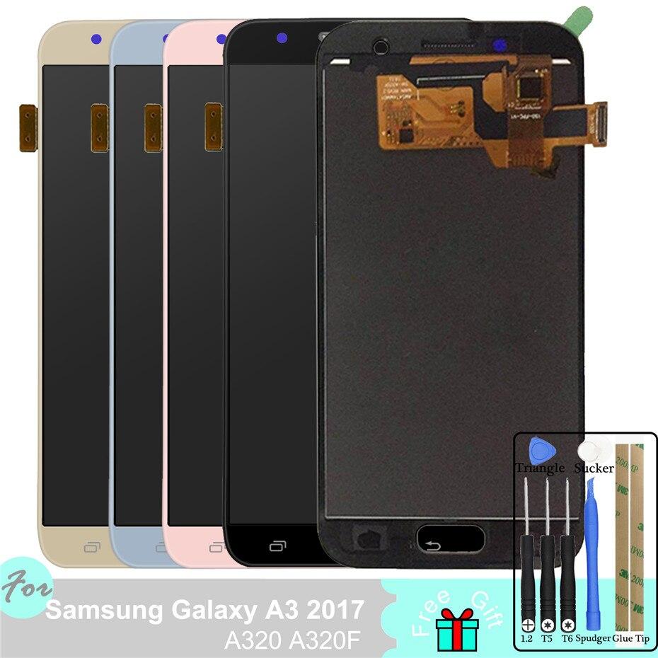 Ajuster le rétro-éclairage LCD pour Samsung Galaxy A3 2017 A320 A320F SM-A320F écran tactile numériseur assemblée avec haut-parleur Anti-poussière Net