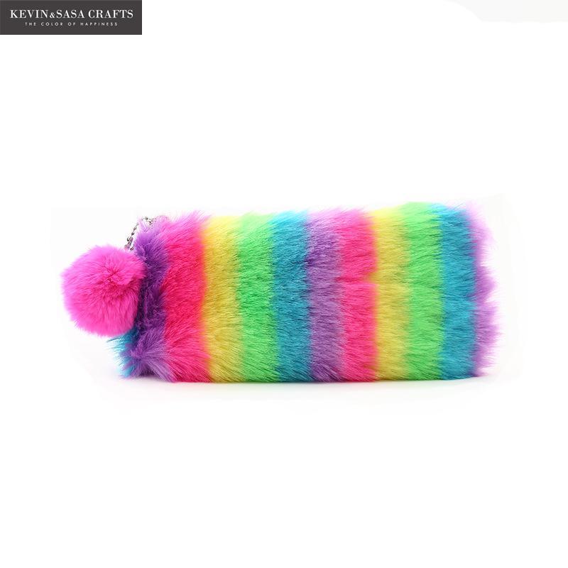 2019 Rainbow Plush Pencil Case Quality School Supplies Bts Stationery Gift Pencilcase School Cute Pencil Box School Tools Gifts