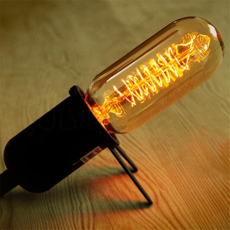 CLAITE 40W Vintage T45 E27 220V Incandescent Bulb Retro Edison Light Bulb Filament Bulb Lighting Transparent Tubes