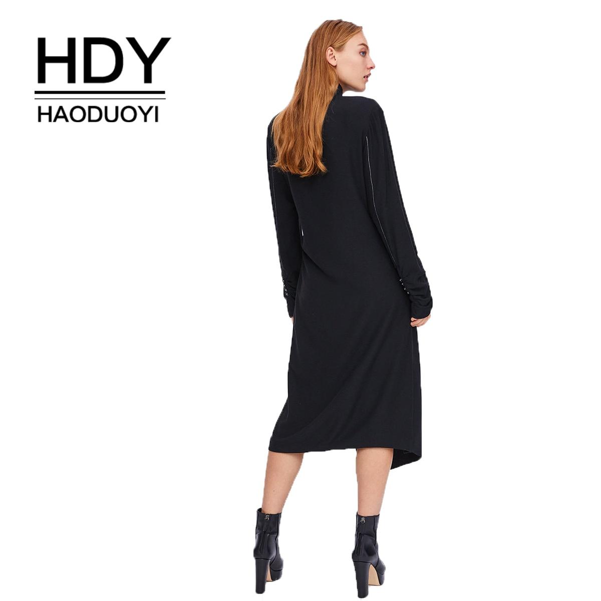 HDY Haoduoyi Black Pressure Line  Wrap Dress autumn Streetwear Elegant Straight Dresses New Solid Color