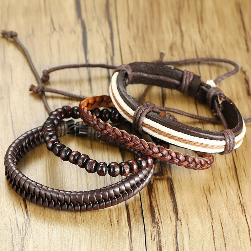 Leather Beaded Brown Bracelet