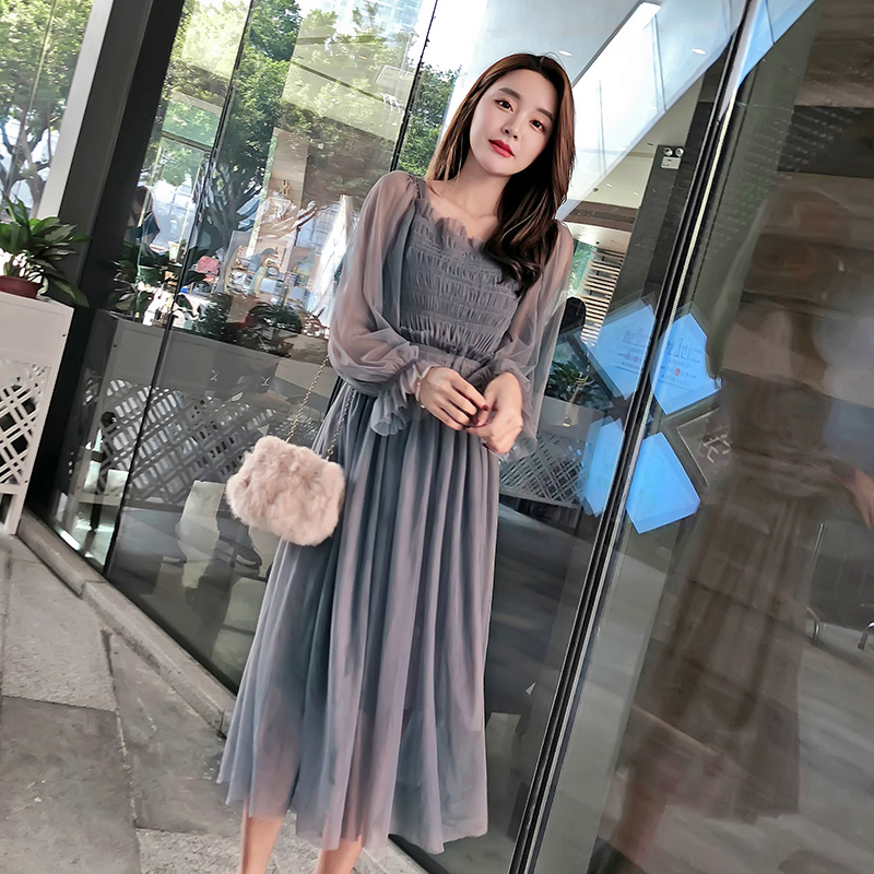 Square Collar Long-Sleeved Party Dresses Women Sweet Mesh Streetwear Mid-Calf Dress Female 2019 Spring Lace Dress Vestidos