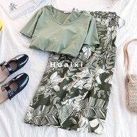 Летний комплект с юбкой, Женская пляжная стильная зеленая юбка с высокой талией + однотонный Повседневный Топ, Женский комплект из двух пред...