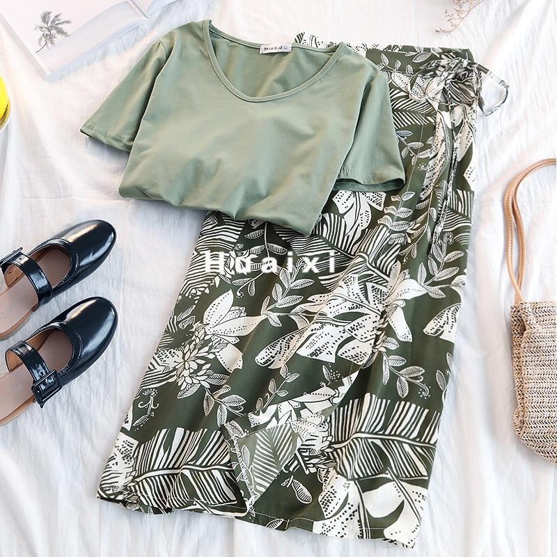 Summer Skirt Set Women Beach Style Green High Waist Wrap Skirt + Solid Casual Tops Female Two Piece Set Fashion Boho Twinset