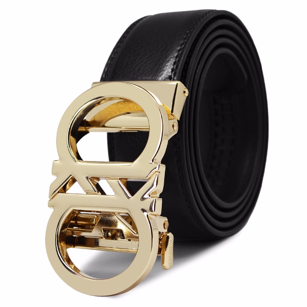 Fashion Men   Belt   Alloy Buckle Gold And Silver Luxury Brand 2018 New Free Shipping Top Leather Black Never Break Men's   Belts