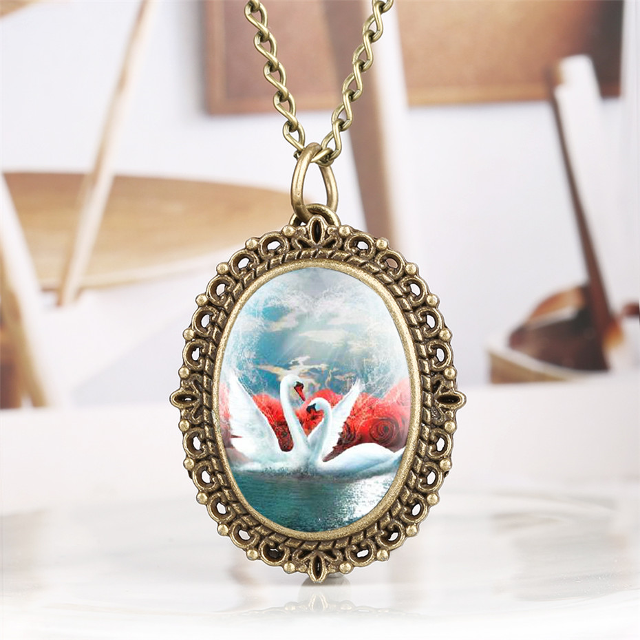 Vintage Fashion White Swans Display Quartz Pocket Watch Women Bronze Necklace Chain Exquisite Pendant Clock Gifts For Lady