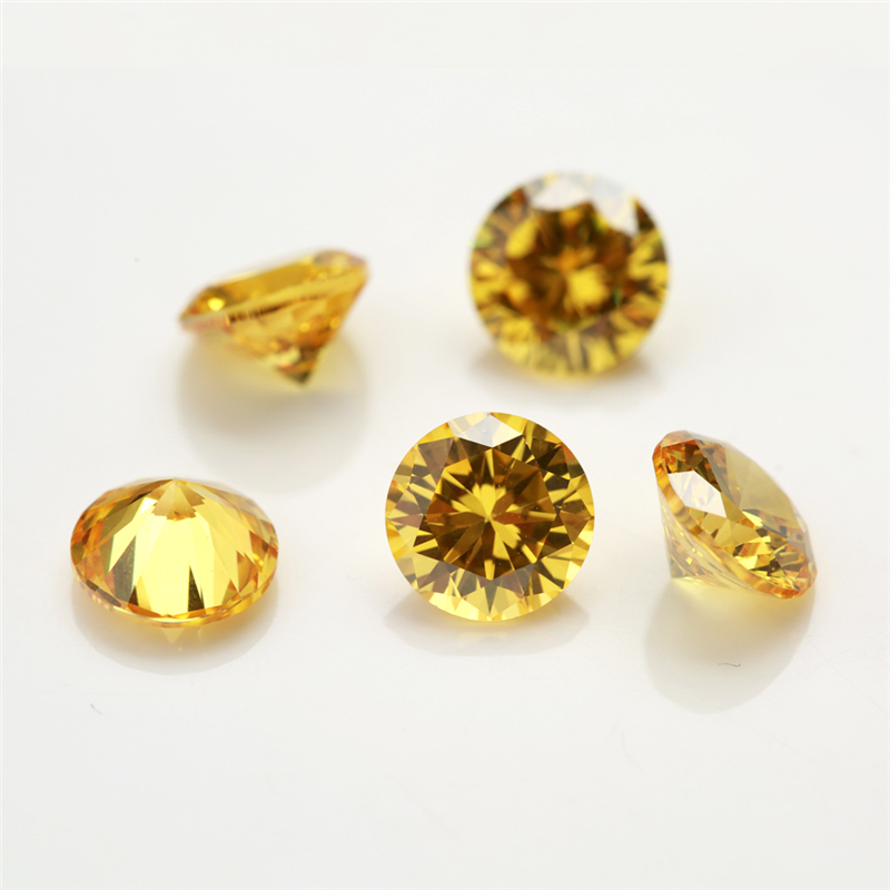 100 pçs/lote 0.8 ~ 4.0 milímetros Rodada Forma Solta CZ Pedra Sintética Zirconia Ouro Amarelo Pedra AAAAA Qualidade Para Jóias DIY pedra