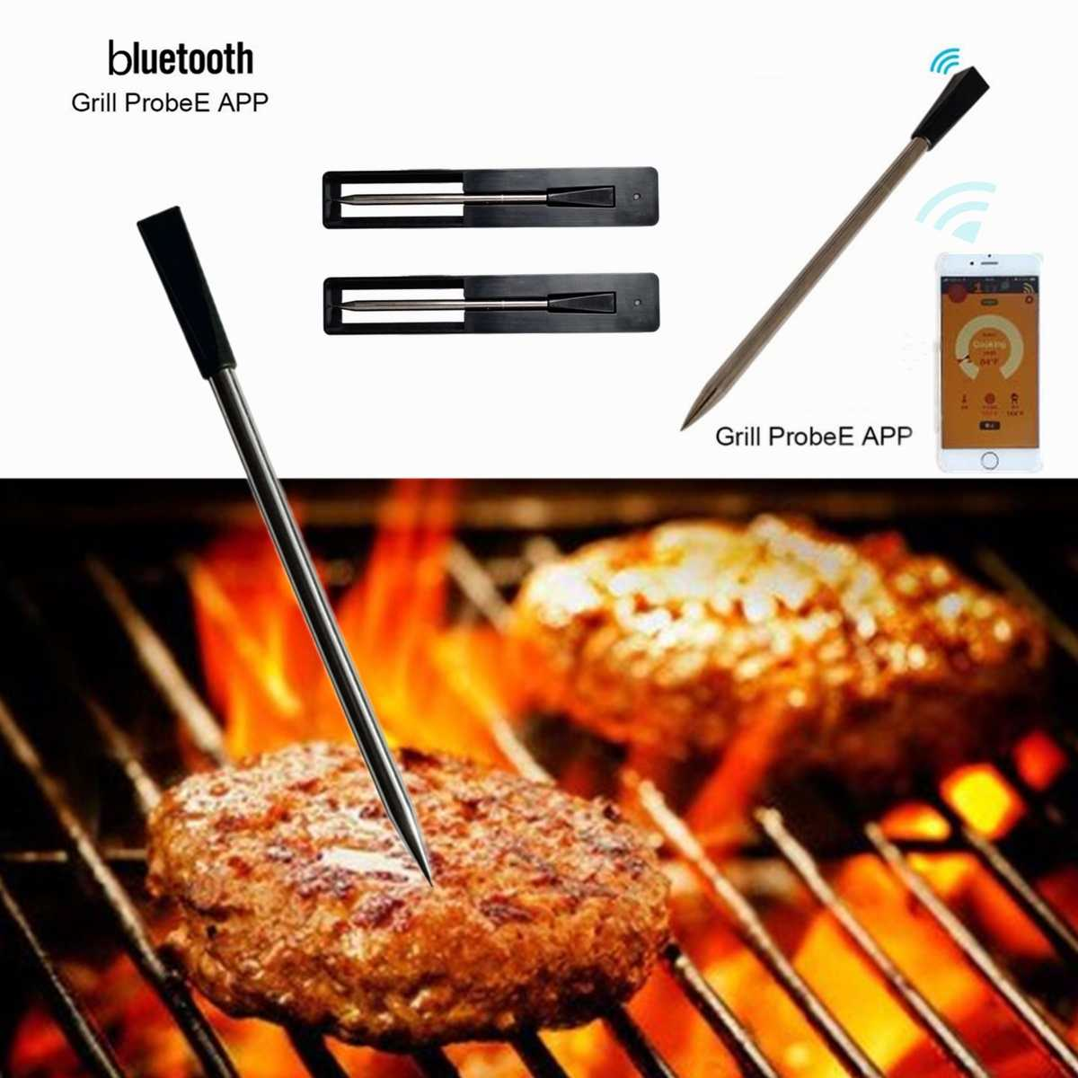 Real Time Probe Meat Thermometer Kitchen Wireless Cooking BBQ Food Thermometer for bluetooth Oven Grill Thermometer Probe