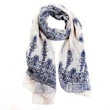 Moda Primavera otoño mujer cremoso blanco suave grande bufanda larga impresión Vintage bufandas 150*70 cm.