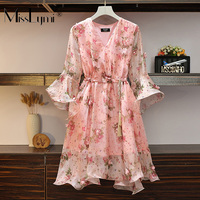 L 4XL Plus Size Women Floral Chiffon Dress Summer 2019 Sexy V neck Flare Sleeve Romantic Petal Patch Loose Beach Casual Dresses