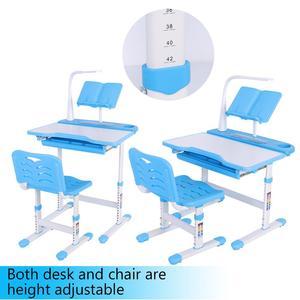 Image 5 - Bureau pour enfants à hauteur réglable et chaise confortable avec lampe 100 ~ 240 V Table détude pour enfants