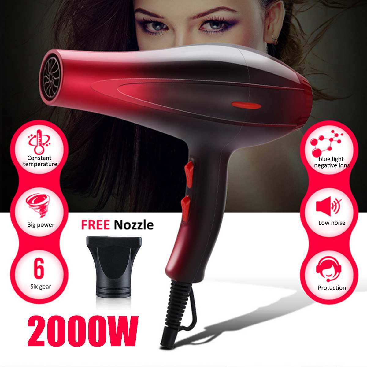 Professional Strong Power 2000W Hair Dryer Hairdressing Electric Hair Blower Low Noise Hairdryer Quick Heat Dryer for Home SalonProfessional Strong Power 2000W Hair Dryer Hairdressing Electric Hair Blower Low Noise Hairdryer Quick Heat Dryer for Home Salon