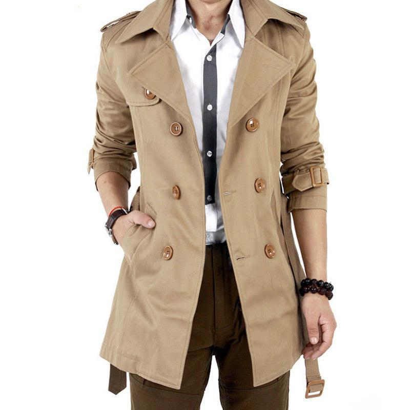 MISSKY Autumn Men Trench Windbreaker Long Solid Color Jacket with Double-breasted Buttons Lapel Collar Coat