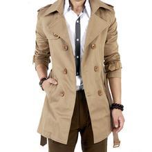 MISSKY Autumn Men Trench Windbreaker Long Solid Color Jacket