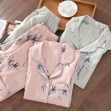 Style chinois Couple Pyjamas hommes et femmes 100% coton gaze à manches longues pyjama ensemble bambou Pijama Mujer femmes Pyjamas 2 pièces