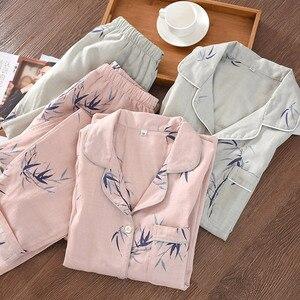 Image 1 - Style chinois Couple Pyjamas hommes et femmes 100% coton gaze à manches longues pyjama ensemble bambou Pijama Mujer femmes Pyjamas 2 pièces