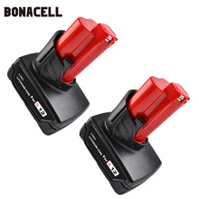 Bonacell 6000mAh 12V Power Tool Rechargeable Li-ion Battery Replacement for Milwaukee M12 C12 WS IR L10