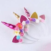 2018 nova marca bonito crianças mulheres doce flor unicórnio chifre faixa de cabelo bandana festa aniversário flor floral headwear coroa