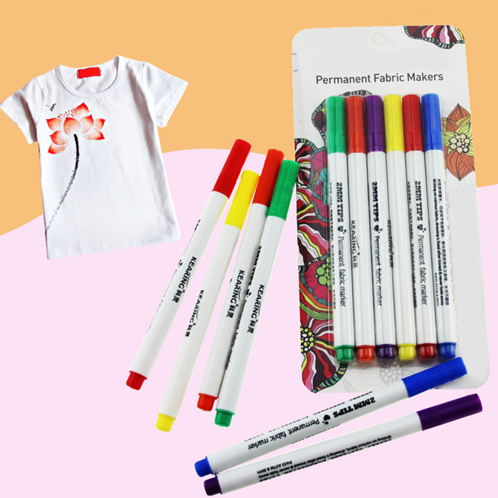 6Pcs T-shirt Marker Pen Painting Pigment Ink Design Liner Cloth Art Textile DIY Office School Supplies Writing Painting Tool #216Pcs T-shirt Marker Pen Painting Pigment Ink Design Liner Cloth Art Textile DIY Office School Supplies Writing Painting Tool #21