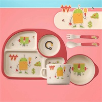 4 Colors 5Pcs/Set Baby Feeding Bowl Plate Dishes Fork Spoon Cup Children Tableware Bamboo Fiber Cartoon Separation Feeding Plate
