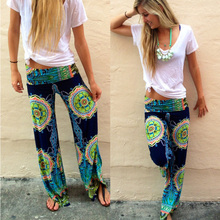 Women Floral Casual Wide Leg Long Harem Pants High Waist Loo