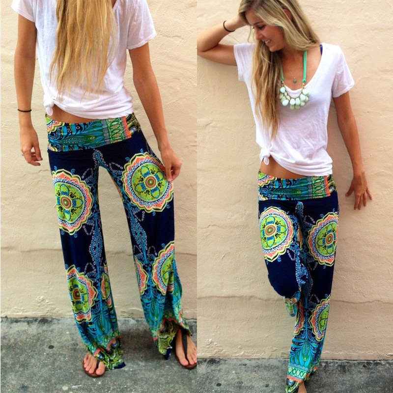 Women Floral Casual   Wide     Leg   Long Harem   Pants   High Waist Loose Elastic Waist Palazzo Trousers Plus Size New beach   pants
