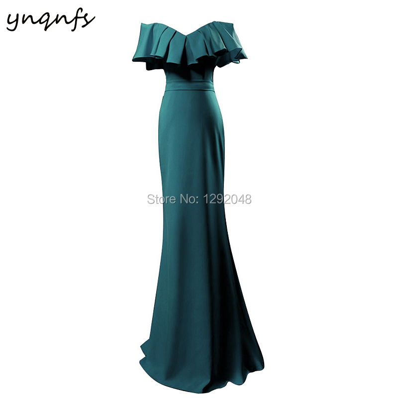YNQNFS MD409 2018 Robe Soiree Abiye Mermaid Jersey Fairy Off Shoulder Ruffles Teal Mother Of The Bride Dresses