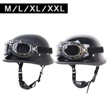 купить Retro motorbike helmet German Helmet Locomotive Retro Helmet Outdoor Riding Half Helmet with Glasses недорого