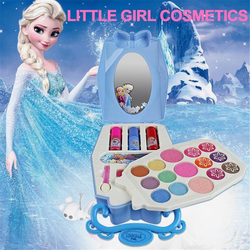 32pcs Disney Ice Princess Makeup Case Toys Set Mini Portable Play House Cosmetics Toy With Lip Gloss Blush Brush For Children Pretend Play