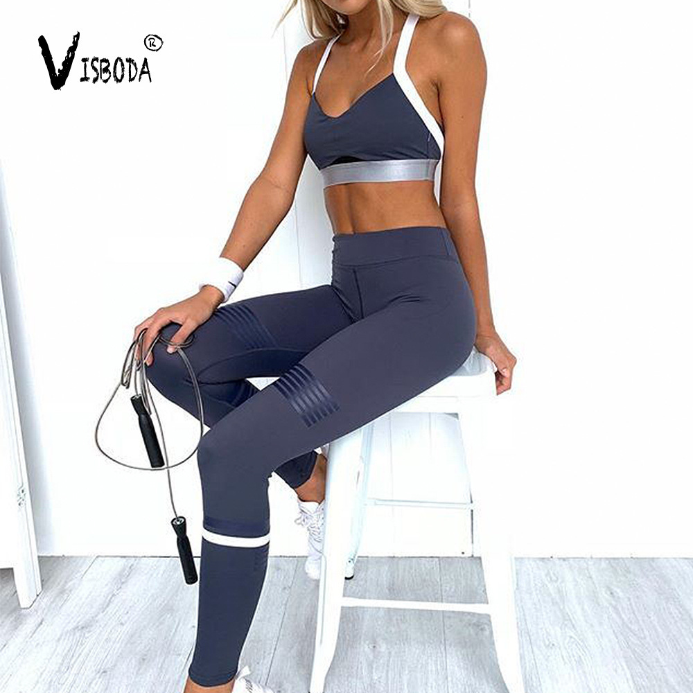 Women Tracksuit Cropped Tank Top High Waist Legging 2 Pieces Set Workout Fashion Summer Female Sexy Fitness Sets Camisetas Mujer