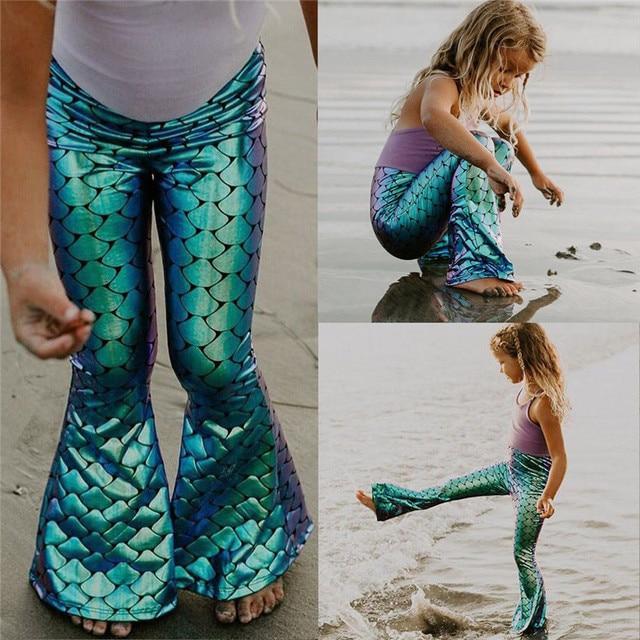 2018 Yenilik Çocuk Kız Kaplama Mermaid Tayt Çan Alt Pantolon Moda Elastik Bel Uzun Alevlendi Pantolon Kız Elbise 2-7Y