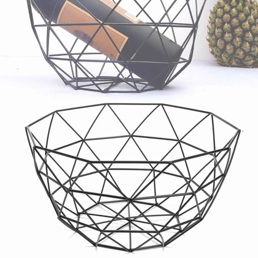 Jx Lclyl New Geometric Iron Wire Decorative Storage Display Basket Fruit Bowl Black 135mm
