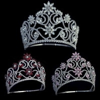 Crowns Tiaras Pink And Red Rhinestone Crystal Adjustable Headband Bridal Wedding Hair Jewelry Tiaras Pageant Queen Crown Mo241