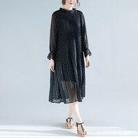 Plus Size Women's Loose Dress Long Sleeve Summer Print Dot Dress Breathable Chiffon Women Dress Vestidos Hollow Out Dress