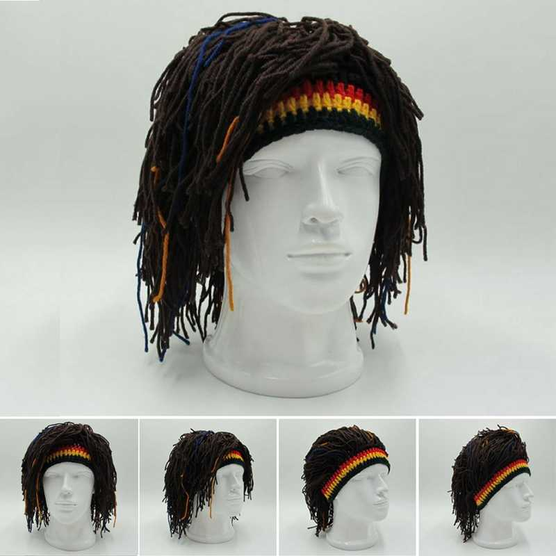 Reggae Dreadlocks Unisex Jamaican Knitted Beanies Wig Braid Hat Party Hats Rasta Hair Hat