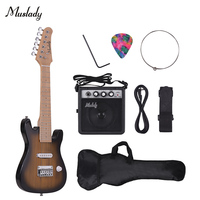 Muslady 28 Inch Kids Children ST Electric Guitar Kit Maple Neck with Mini Amplifier Guitar Bag Strap Pick String Audio Cable