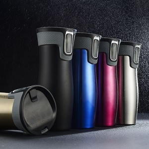 Image 4 - 450ml 16oz AUTOSEAL Taza de Viaje termo café taza de vacío de acero inoxidable tazas aisladas termo de agua botella de té termal tazas automáticas