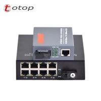 1 pair Media Converter 1 port RJ45 1 port SC + 8 port RJ45 1 port SC Single Mode Optic Fiber 10/100/1000Mbps Gigabit Ethernet